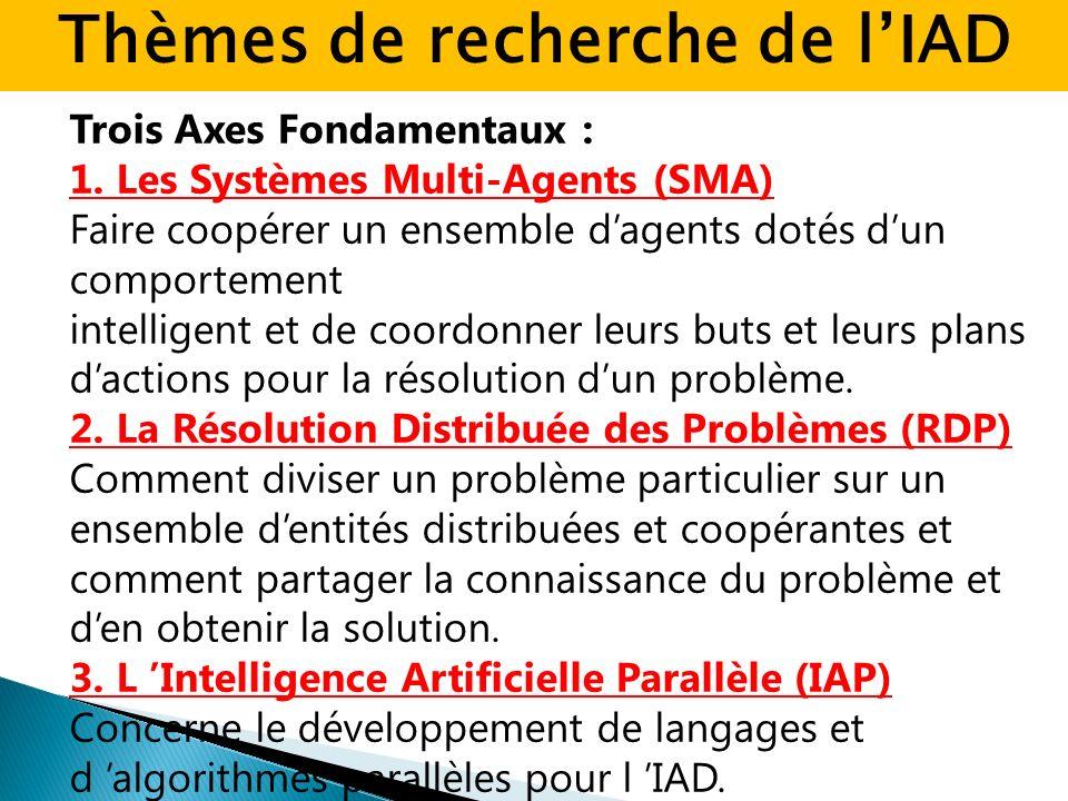 Trois Axes Fondamentaux : 1. Les Systèmes Multi-Agents (SMA) Faire coopérer un ensemble dagents dotés dun comportement intelligent et de coordonner le