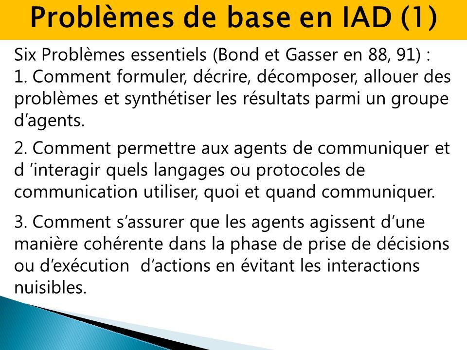 Six Problèmes essentiels (Bond et Gasser en 88, 91) : 1. Comment formuler, décrire, décomposer, allouer des problèmes et synthétiser les résultats par