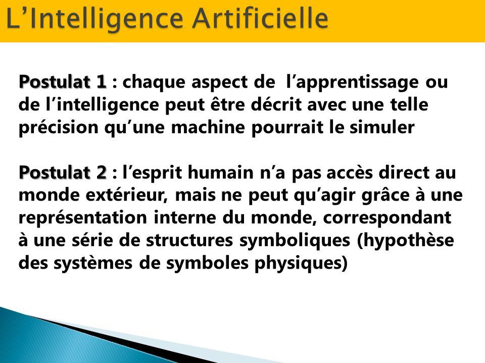 Postulat 1 Postulat 1 : chaque aspect de lapprentissage ou de lintelligence peut être décrit avec une telle précision quune machine pourrait le simule