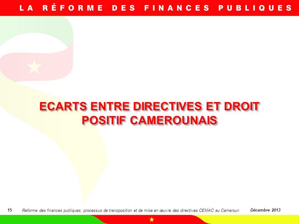 ECARTS ENTRE DIRECTIVES ET DROIT POSITIF CAMEROUNAIS 15Décembre 2013 Reforme des finances publiques, processus de transposition et de mise en œuvre de
