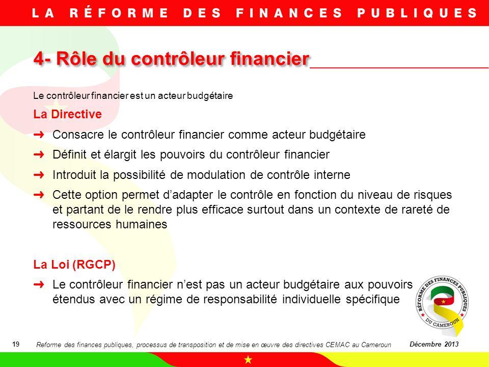 4- Rôle du contrôleur financier 19Décembre 2013 Le contrôleur financier est un acteur budgétaire La Directive Consacre le contrôleur financier comme a