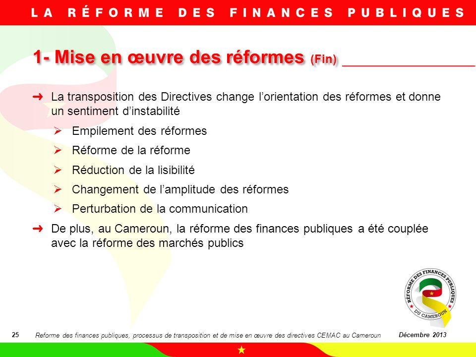 1- Mise en œuvre des réformes (Fin) 1- Mise en œuvre des réformes (Fin) 25Décembre 2013 La transposition des Directives change lorientation des réform