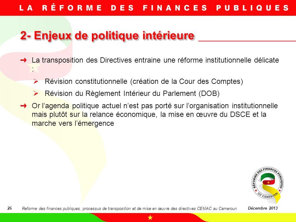 2- Enjeux de politique intérieure 2- Enjeux de politique intérieure 26Décembre 2013 La transposition des Directives entraine une réforme institutionne