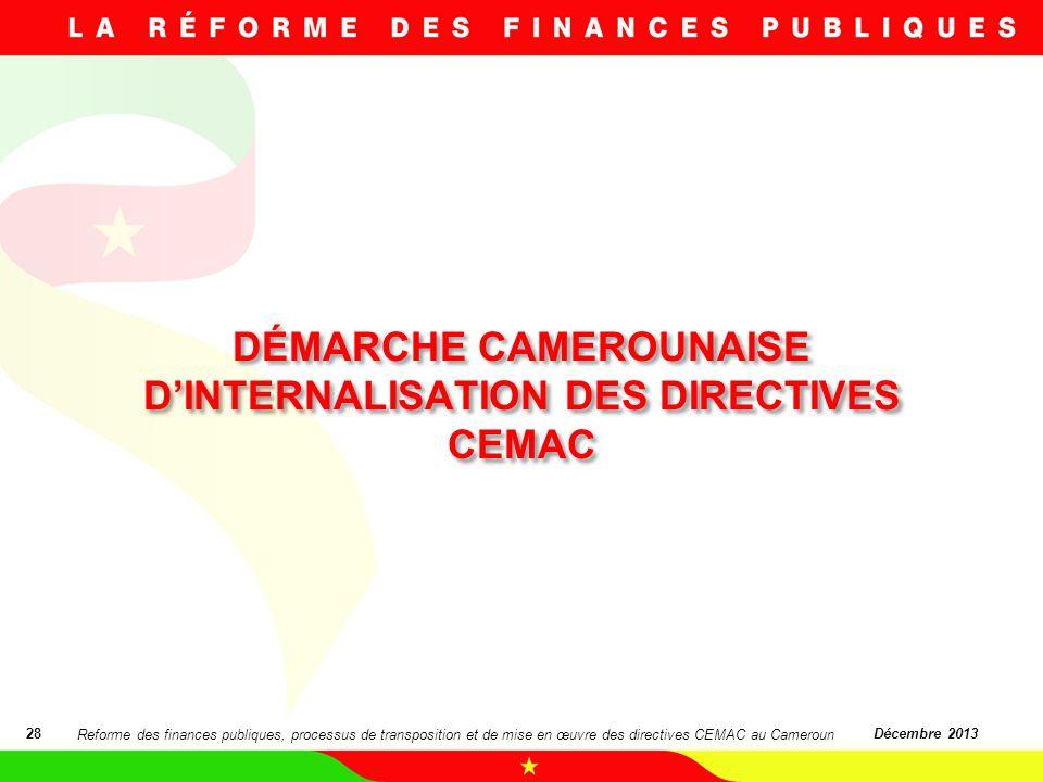 DÉMARCHE CAMEROUNAISE DINTERNALISATION DES DIRECTIVES CEMAC 28Décembre 2013 Reforme des finances publiques, processus de transposition et de mise en œ