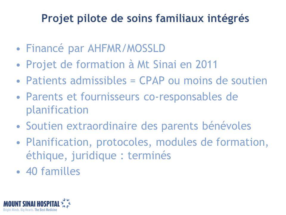 Projet pilote de soins familiaux intégrés Financé par AHFMR/MOSSLD Projet de formation à Mt Sinai en 2011 Patients admissibles = CPAP ou moins de sout