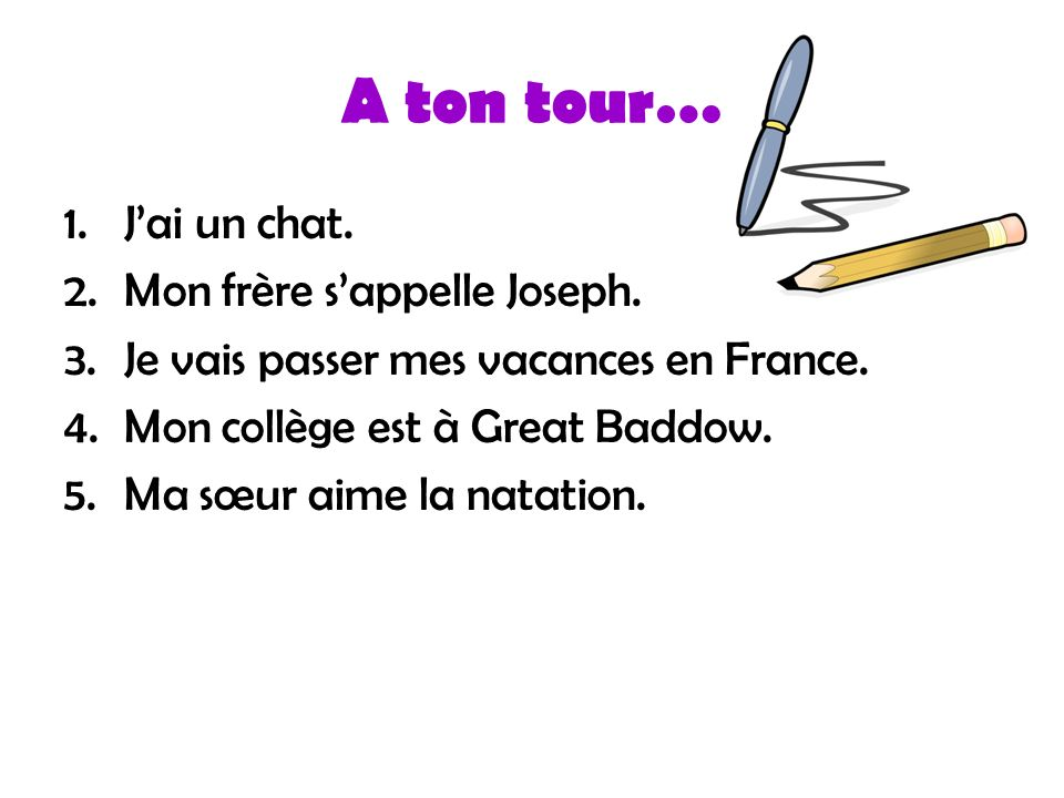 A ton tour… 1.Jai un chat. 2.Mon frère sappelle Joseph. 3.Je vais passer mes vacances en France. 4.Mon collège est à Great Baddow. 5.Ma sœur aime la n