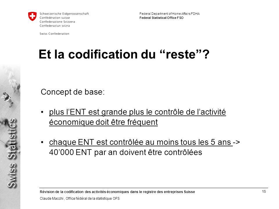 15 Révision de la codification des activités économiques dans le registre des entreprises Suisse Claude Macchi, Office fédéral de la statistique OFS F