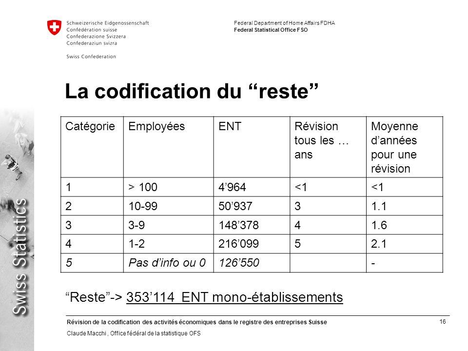 16 Révision de la codification des activités économiques dans le registre des entreprises Suisse Claude Macchi, Office fédéral de la statistique OFS F