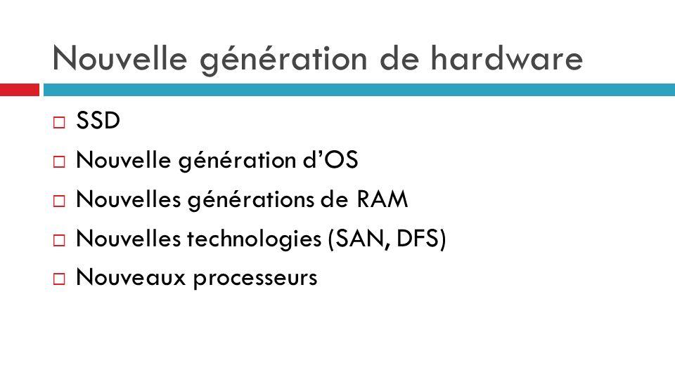 Nouvelle génération de hardware SSD Nouvelle génération dOS Nouvelles générations de RAM Nouvelles technologies (SAN, DFS) Nouveaux processeurs