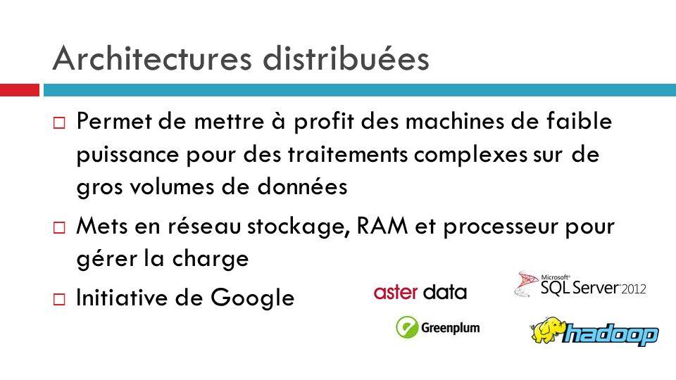 Permet de mettre à profit des machines de faible puissance pour des traitements complexes sur de gros volumes de données Mets en réseau stockage, RAM