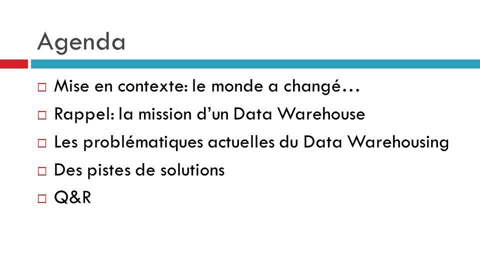 Agenda Mise en contexte: le monde a changé… Rappel: la mission dun Data Warehouse Les problématiques actuelles du Data Warehousing Des pistes de solut