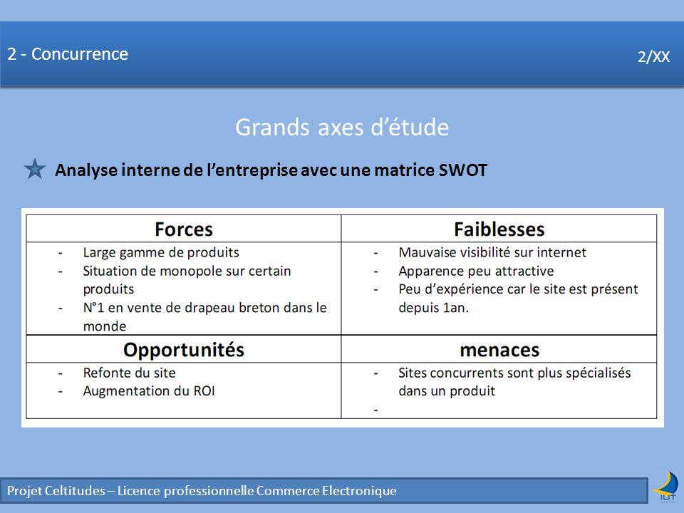 Concurrence Projet Celtitudes – Licence professionnelle Commerce Electronique 2/XX 2 - Concurrence Grands axes détude 2/XX Analyse interne de lentrepr
