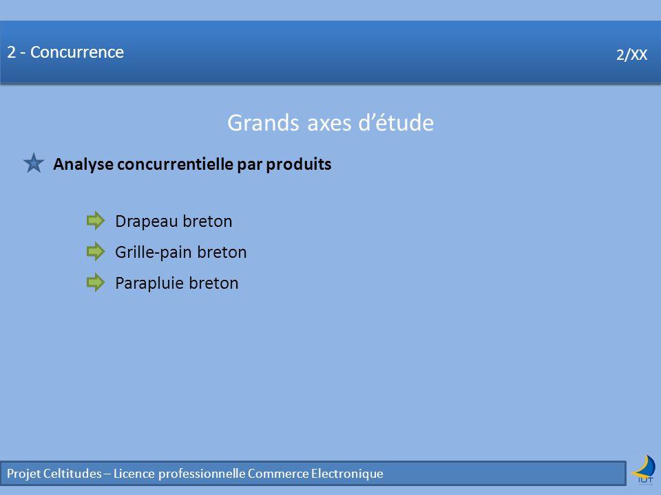 Concurrence Projet Celtitudes – Licence professionnelle Commerce Electronique 2/XX 2 - Concurrence Grands axes détude 2/XX Analyse concurrentielle par