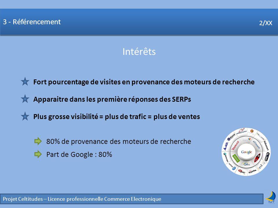 Concurrence Projet Celtitudes – Licence professionnelle Commerce Electronique 2/XX 3 - Référencement Intérêts 2/XX Fort pourcentage de visites en prov