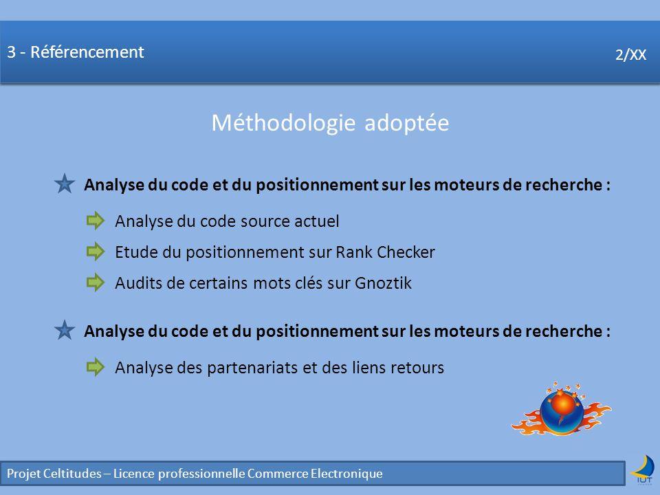 Concurrence Projet Celtitudes – Licence professionnelle Commerce Electronique 2/XX 3 - Référencement Méthodologie adoptée 2/XX Analyse du code et du p