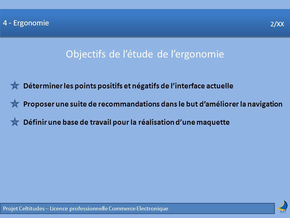 Concurrence Projet Celtitudes – Licence professionnelle Commerce Electronique 2/XX 4 - Ergonomie Objectifs de létude de lergonomie 2/XX Déterminer les