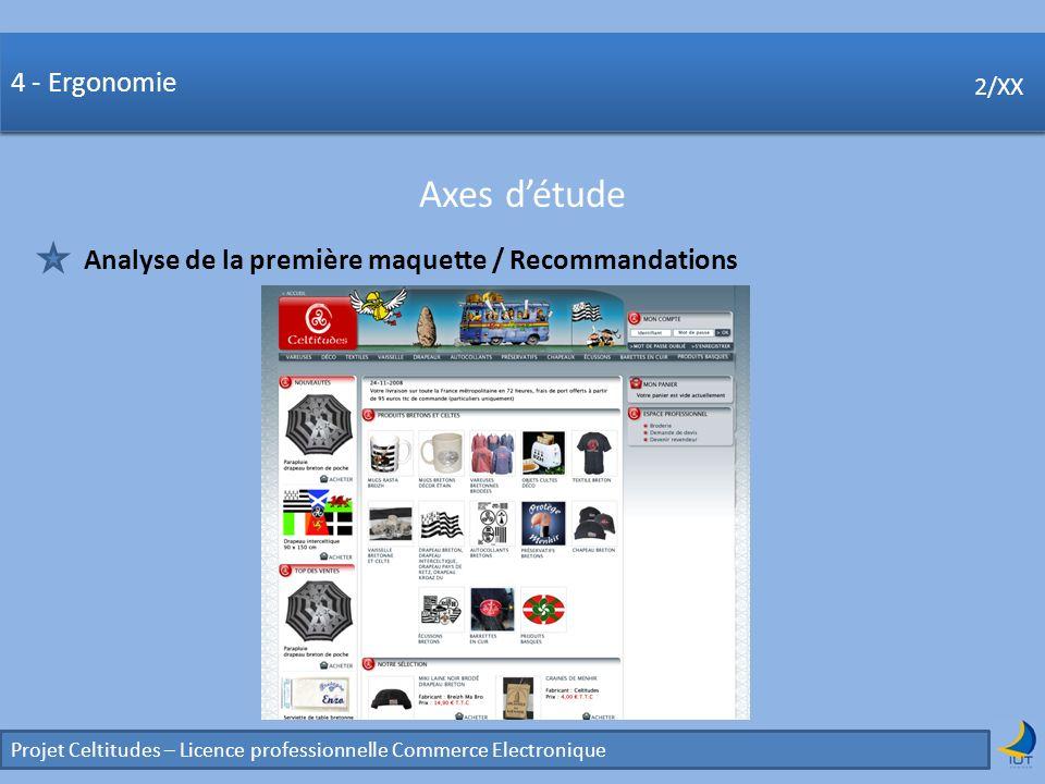 Concurrence Projet Celtitudes – Licence professionnelle Commerce Electronique 2/XX 4 - Ergonomie Axes détude 2/XX Analyse de la première maquette / Re