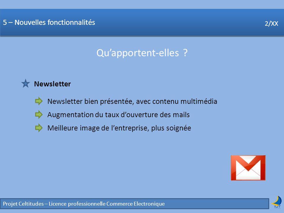 Concurrence Projet Celtitudes – Licence professionnelle Commerce Electronique 2/XX 5 – Nouvelles fonctionnalités Quapportent-elles ? 2/XX Newsletter N