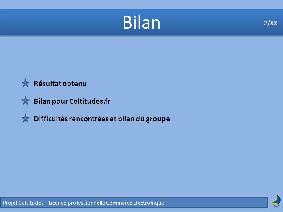 Bilan Projet Celtitudes – Licence professionnelle Commerce Electronique 2/XX Résultat obtenu Bilan pour Celtitudes.fr Difficultés rencontrées et bilan