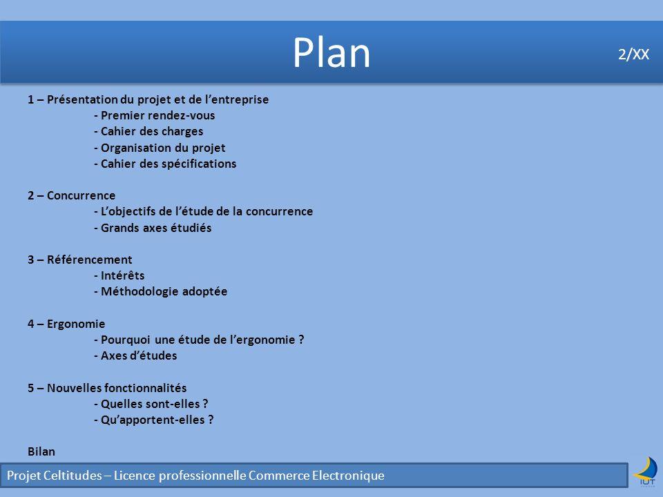 Concurrence Projet Celtitudes – Licence professionnelle Commerce Electronique 2/XX 2 - Concurrence Grands axes détude 2/XX Etude de linterface des principaux sites concurrents