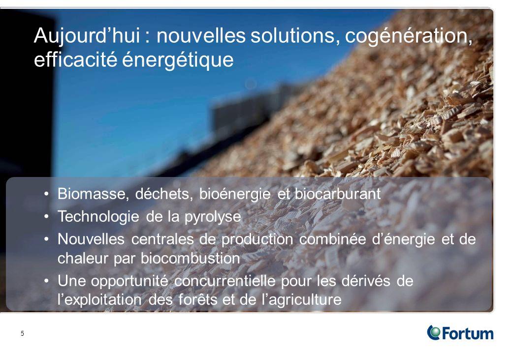 5 Aujourdhui : nouvelles solutions, cogénération, efficacité énergétique Biomasse, déchets, bioénergie et biocarburant Technologie de la pyrolyse Nouvelles centrales de production combinée dénergie et de chaleur par biocombustion Une opportunité concurrentielle pour les dérivés de lexploitation des forêts et de lagriculture