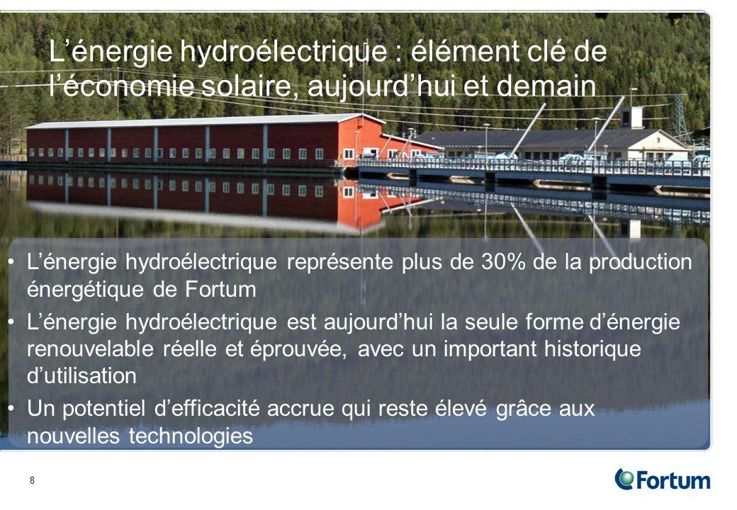 Lénergie hydroélectrique représente plus de 30% de la production énergétique de Fortum Lénergie hydroélectrique est aujourdhui la seule forme dénergie renouvelable réelle et éprouvée, avec un important historique dutilisation Un potentiel defficacité accrue qui reste élevé grâce aux nouvelles technologies 8 Lénergie hydroélectrique : élément clé de léconomie solaire, aujourdhui et demain