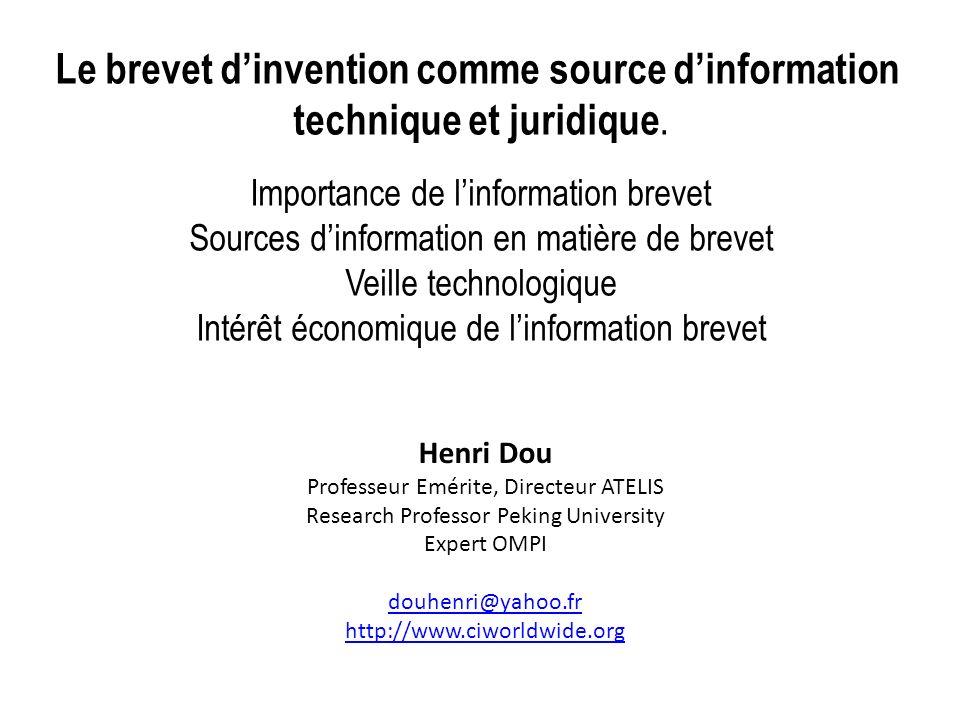 Le brevet dinvention comme source dinformation technique et juridique. Importance de linformation brevet Sources dinformation en matière de brevet Vei