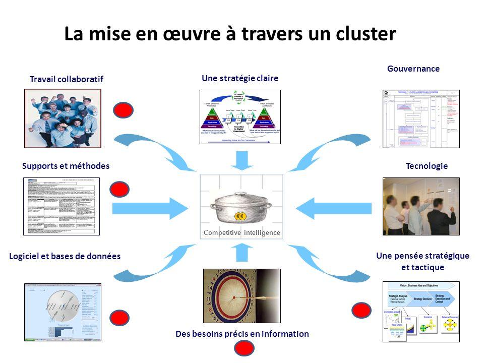 Gouvernance Tecnologie Une pensée stratégique et tactique Travail collaboratif Supports et méthodes Logiciel et bases de données Competitive intellige