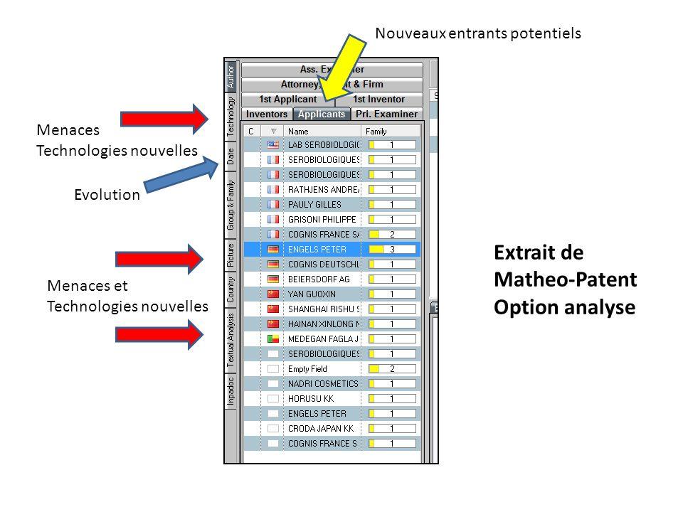 Menaces Technologies nouvelles Nouveaux entrants potentiels Evolution Menaces et Technologies nouvelles Extrait de Matheo-Patent Option analyse