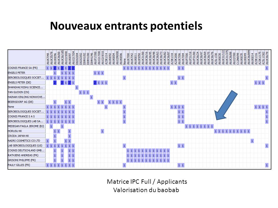 Nouveaux entrants potentiels Matrice IPC Full / Applicants Valorisation du baobab