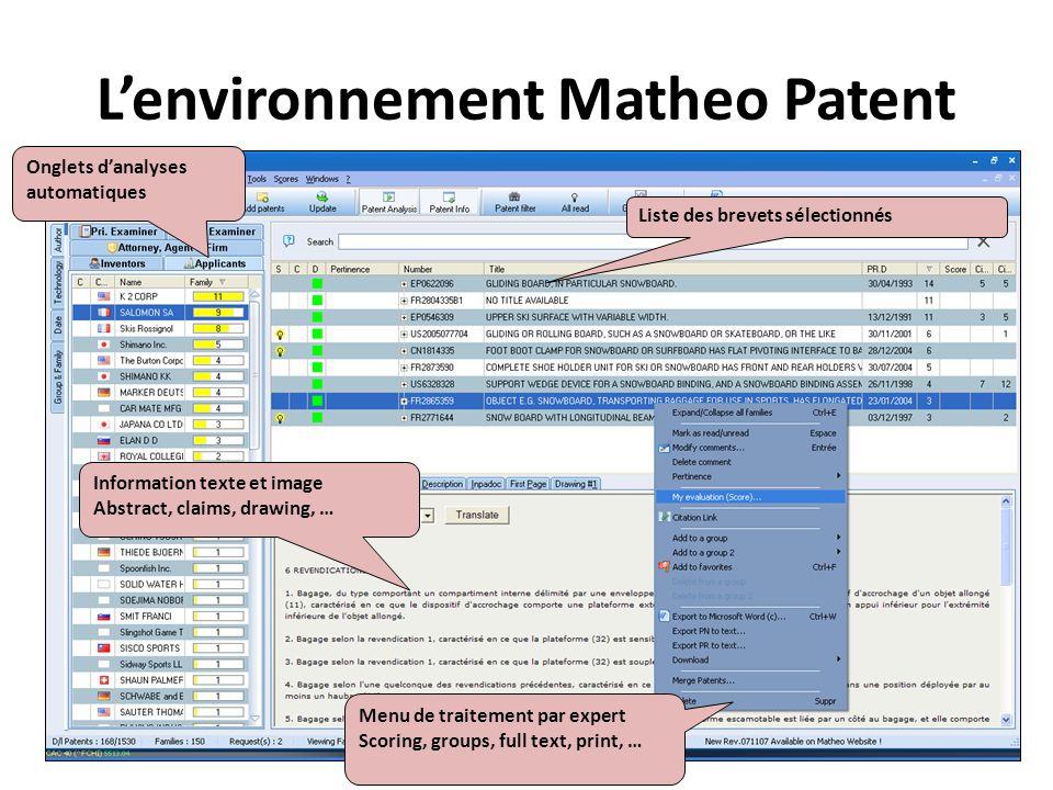 Lenvironnement Matheo Patent Liste des brevets sélectionnés Information texte et image Abstract, claims, drawing, … Onglets danalyses automatiques Men