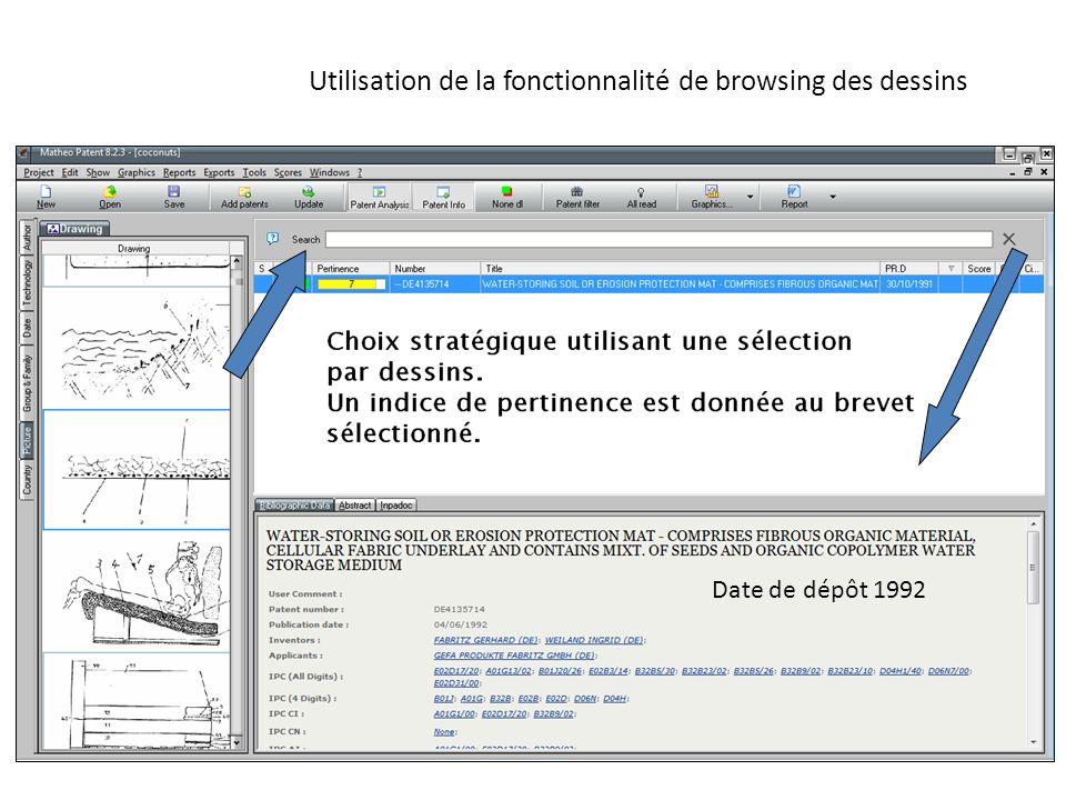 Utilisation de la fonctionnalité de browsing des dessins Date de dépôt 1992