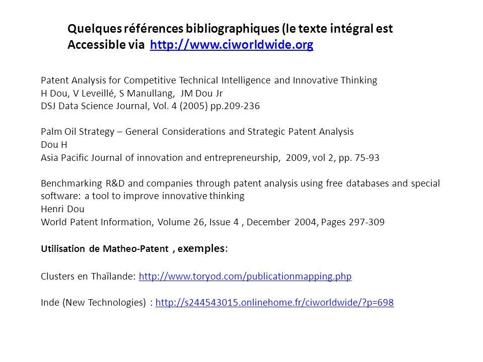 Quelques références bibliographiques (le texte intégral est Accessible via http://www.ciworldwide.orghttp://www.ciworldwide.org Patent Analysis for Co
