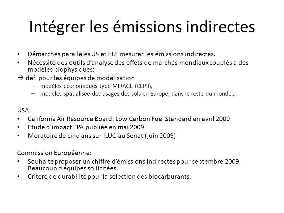 Intégrer les émissions indirectes Démarches parallèles US et EU: mesurer les émissions indirectes.