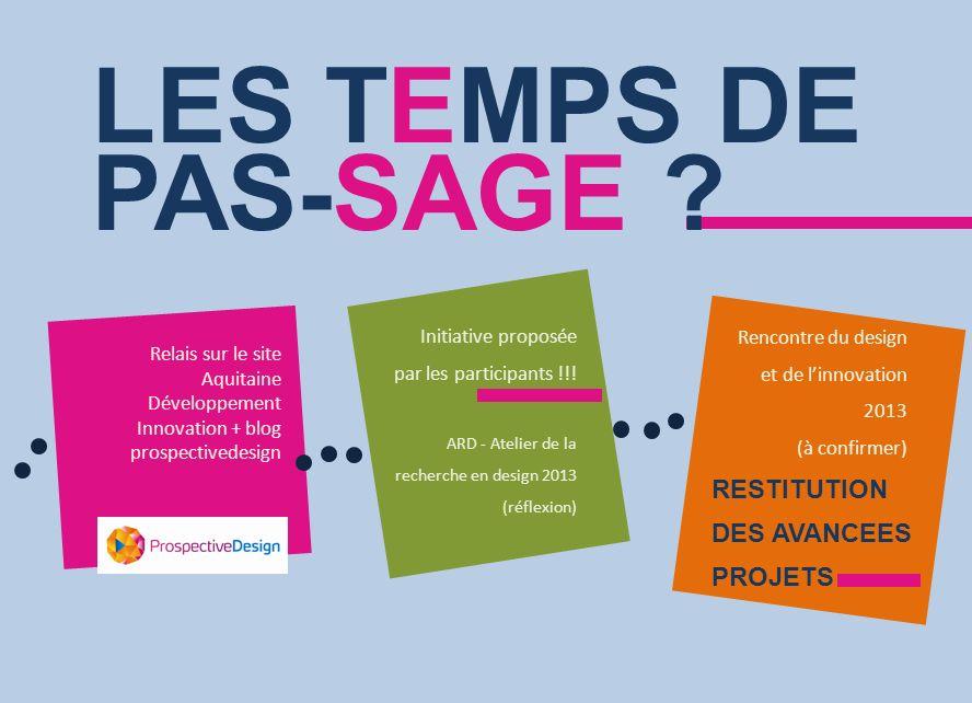 LES TEMPS DE PAS-SAGE ? Initiative proposée par les participants !!! ARD - Atelier de la recherche en design 2013 (réflexion) Relais sur le site Aquit
