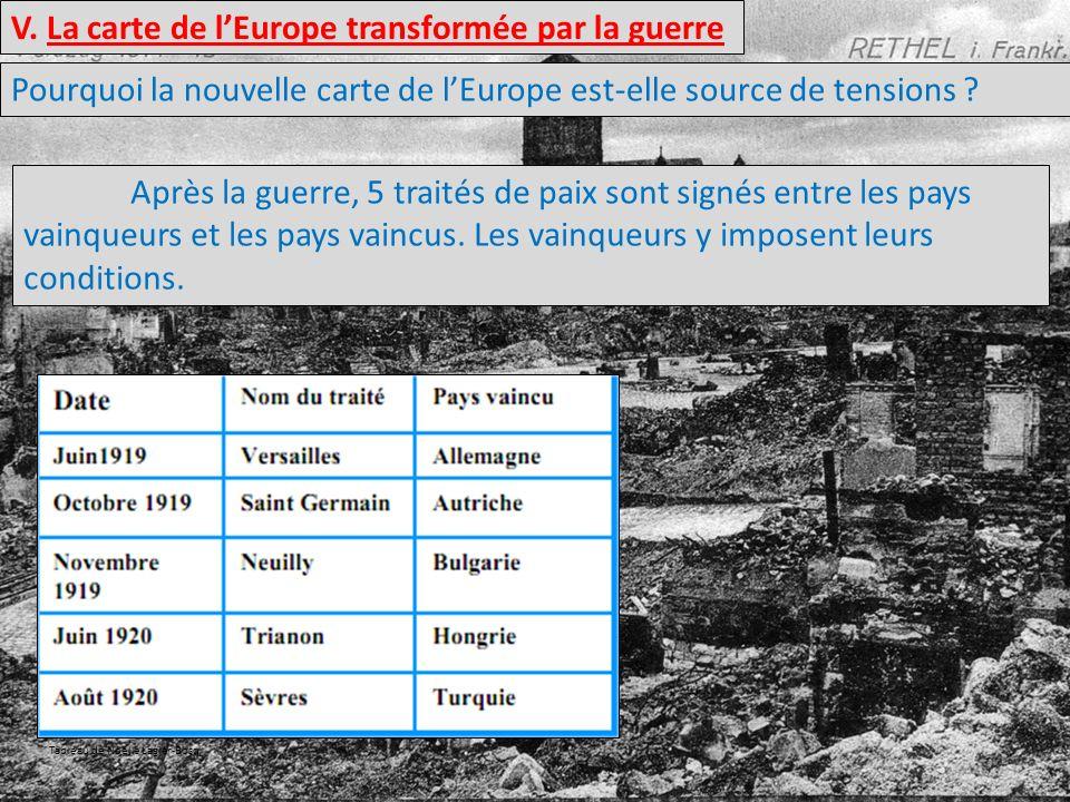 V. La carte de lEurope transformée par la guerre Pourquoi la nouvelle carte de lEurope est-elle source de tensions ? Après la guerre, 5 traités de pai