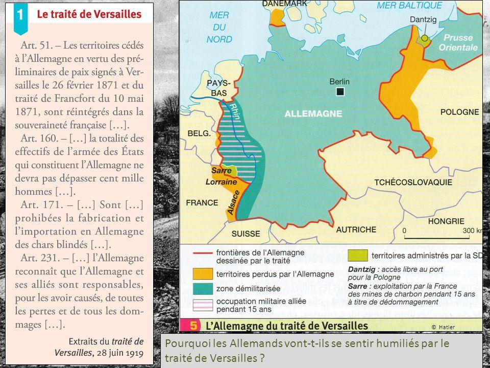 © Hatier Pourquoi les Allemands vont-t-ils se sentir humiliés par le traité de Versailles ?