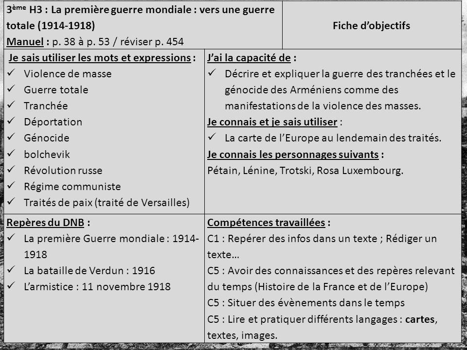 3 ème H3 : La première guerre mondiale : vers une guerre totale (1914-1918) Manuel : p. 38 à p. 53 / réviser p. 454 Fiche dobjectifs Je sais utiliser