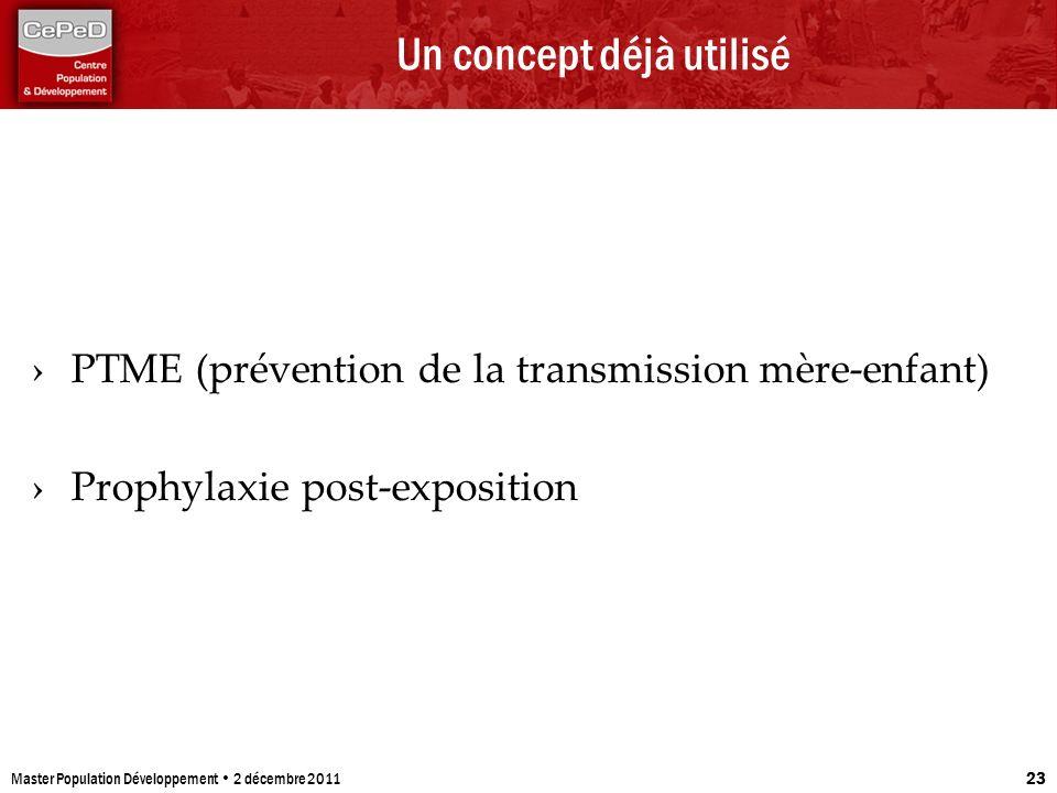 Un concept déjà utilisé PTME (prévention de la transmission mère-enfant) Prophylaxie post-exposition Master Population Développement 2 décembre 2011 2