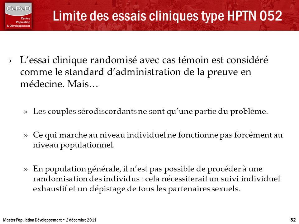 Limite des essais cliniques type HPTN 052 Lessai clinique randomisé avec cas témoin est considéré comme le standard dadministration de la preuve en mé