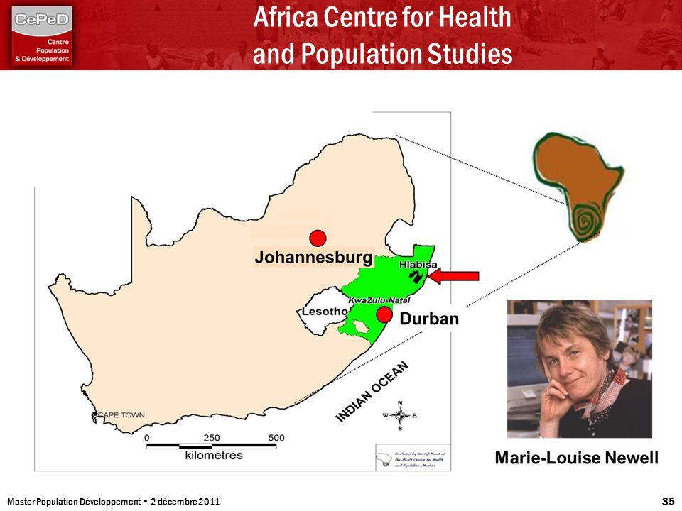 Africa Centre for Health and Population Studies Master Population Développement 2 décembre 2011 35