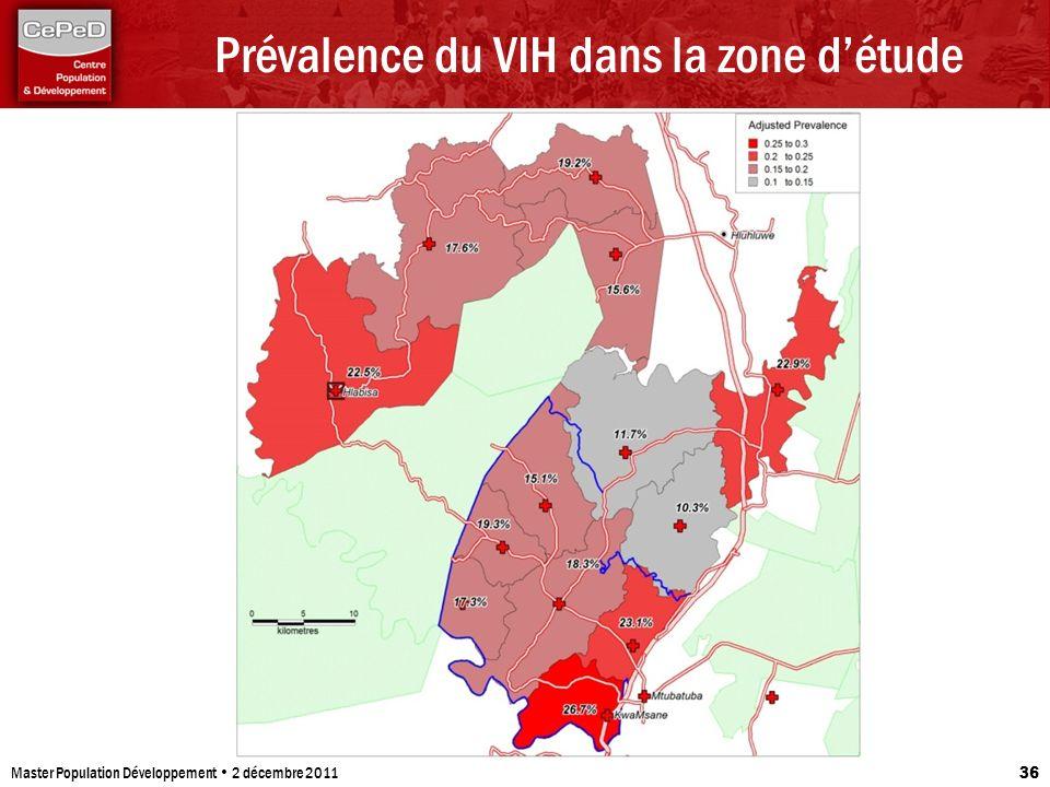 Prévalence du VIH dans la zone détude Master Population Développement 2 décembre 2011 36