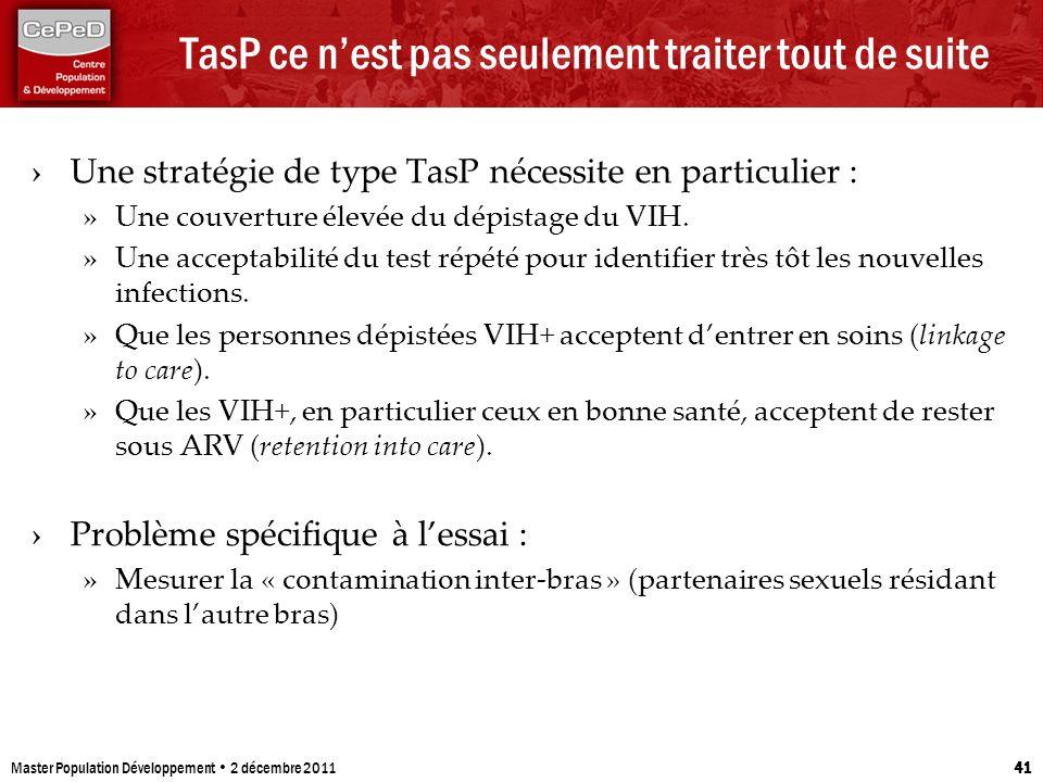 TasP ce nest pas seulement traiter tout de suite Une stratégie de type TasP nécessite en particulier : » Une couverture élevée du dépistage du VIH. »