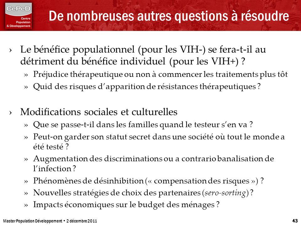 De nombreuses autres questions à résoudre Le bénéfice populationnel (pour les VIH-) se fera-t-il au détriment du bénéfice individuel (pour les VIH+) ?