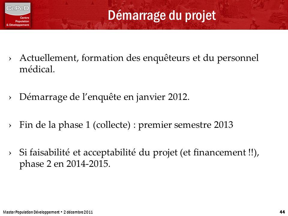 Démarrage du projet Actuellement, formation des enquêteurs et du personnel médical. Démarrage de lenquête en janvier 2012. Fin de la phase 1 (collecte