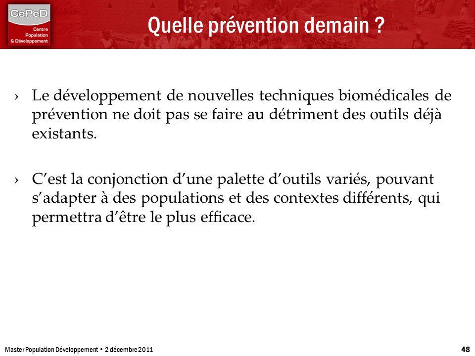 Quelle prévention demain ? Le développement de nouvelles techniques biomédicales de prévention ne doit pas se faire au détriment des outils déjà exist