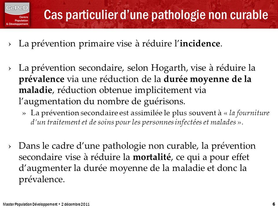 Cas particulier dune pathologie non curable La prévention primaire vise à réduire lincidence. La prévention secondaire, selon Hogarth, vise à réduire