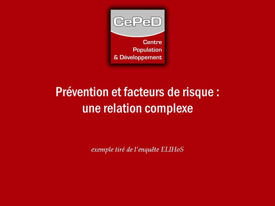 Prévention et facteurs de risque : une relation complexe exemple tiré de lenquête ELIHoS