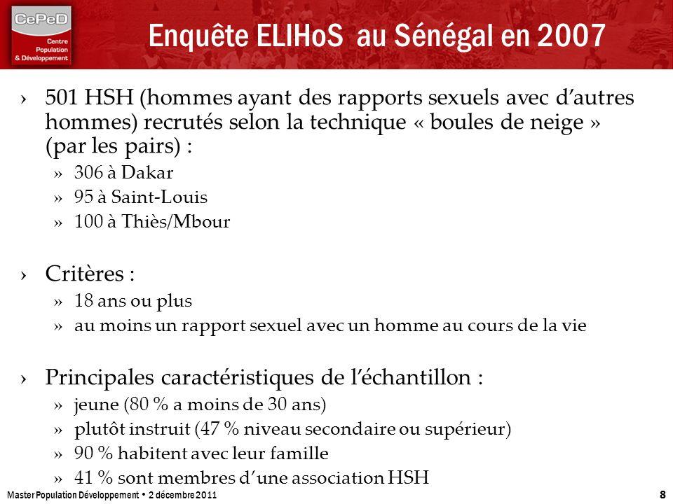 Enquête ELIHoS au Sénégal en 2007 Master Population Développement 2 décembre 2011 8 501 HSH (hommes ayant des rapports sexuels avec dautres hommes) re