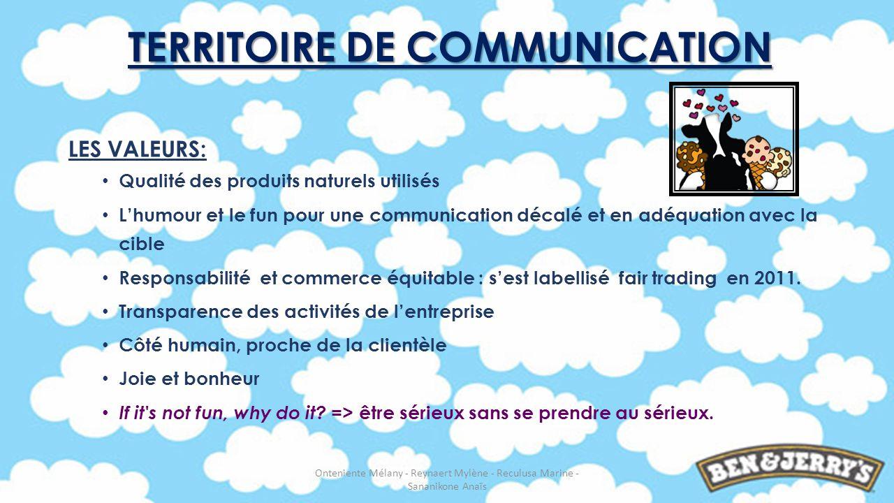 LES VALEURS: Qualité des produits naturels utilisés Lhumour et le fun pour une communication décalé et en adéquation avec la cible Responsabilité et c